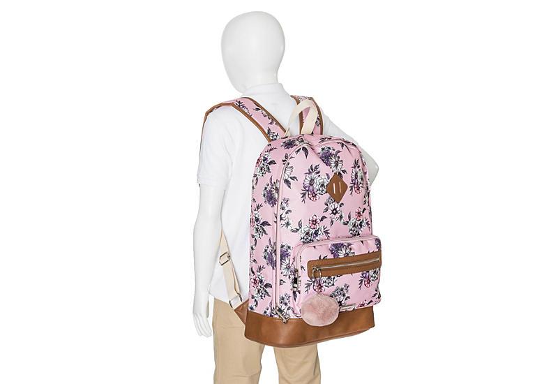 MADDEN GIRL Womens Pompom Backpack - PINK