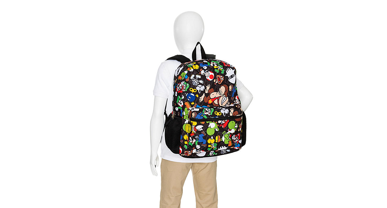 MARIO Boys All Over Print Backpack - BLACK