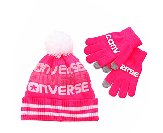 Girls Pompom Hat And Glove Set