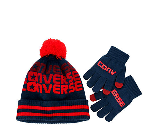 Boys Pompom Hat And Glove Set