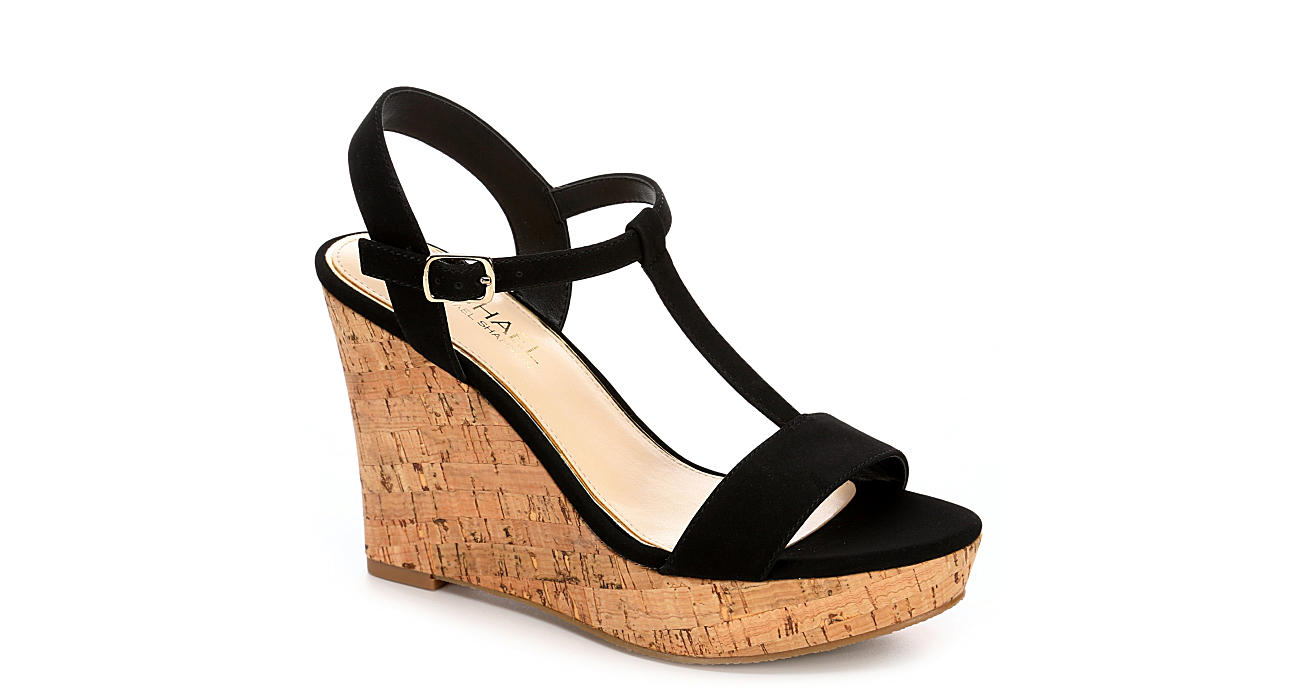 MICHAEL BY MICHAEL SHANNON Womens Libby Wedge Sandal - BLACK