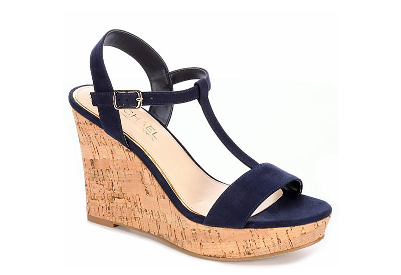 MICHAEL BY MICHAEL SHANNON Womens Libby Wedge Sandal - NAVY