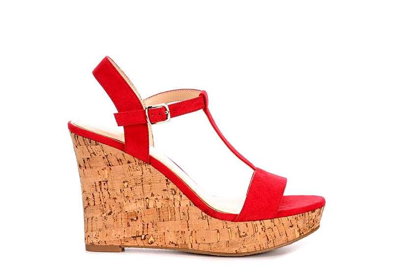 MICHAEL BY MICHAEL SHANNON Womens Libby Wedge Sandal - RED