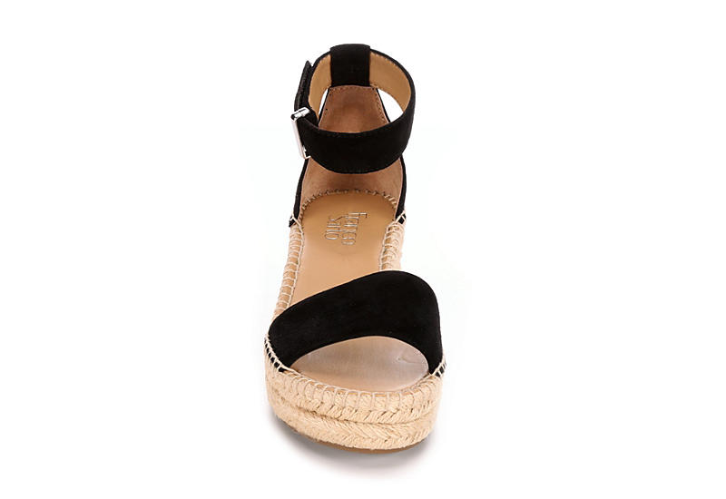 FRANCO SARTO Womens Pela Espadrille Wedge Sandal - BLACK