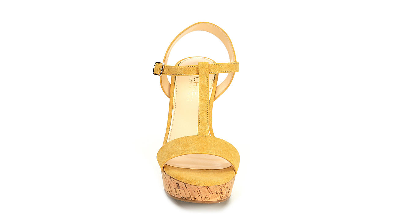 MICHAEL BY MICHAEL SHANNON Womens Libby Wedge Sandal - YELLOW