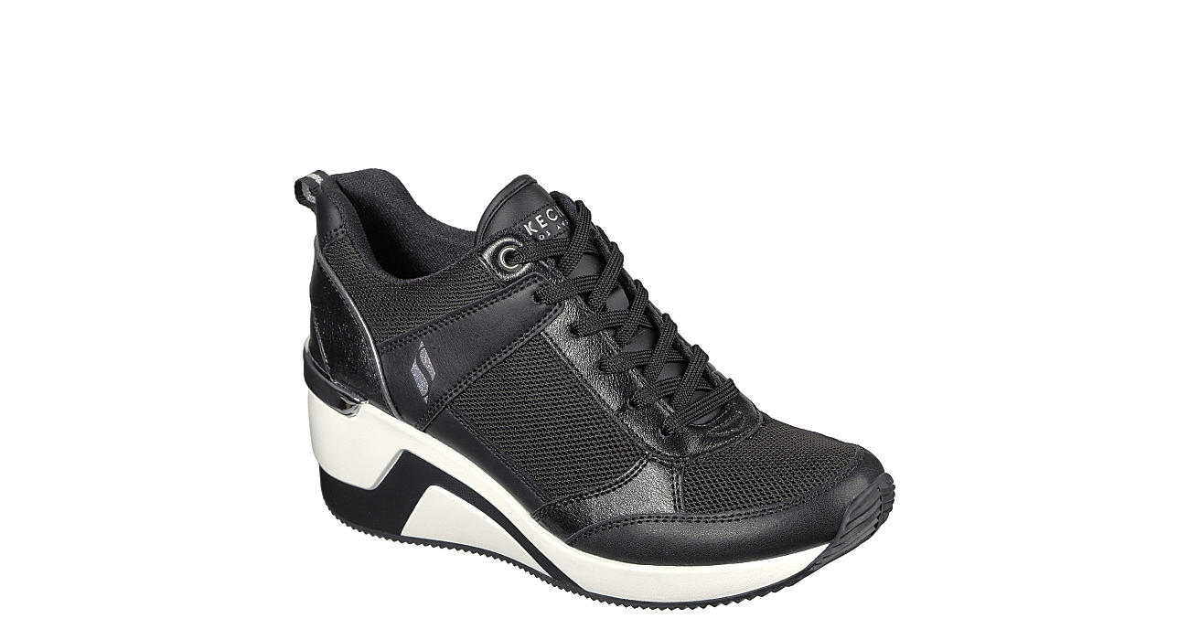 SKECHERS Womens Million-air Up There Wedge Sneaker - BLACK
