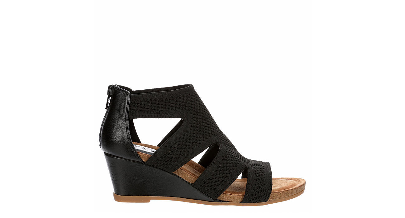 EUROSOFT Womens Sancia Caged Wedge - BLACK