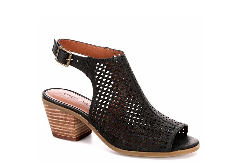 LUCKY BRAND Womens Bertel Heeled Sandal - BLACK