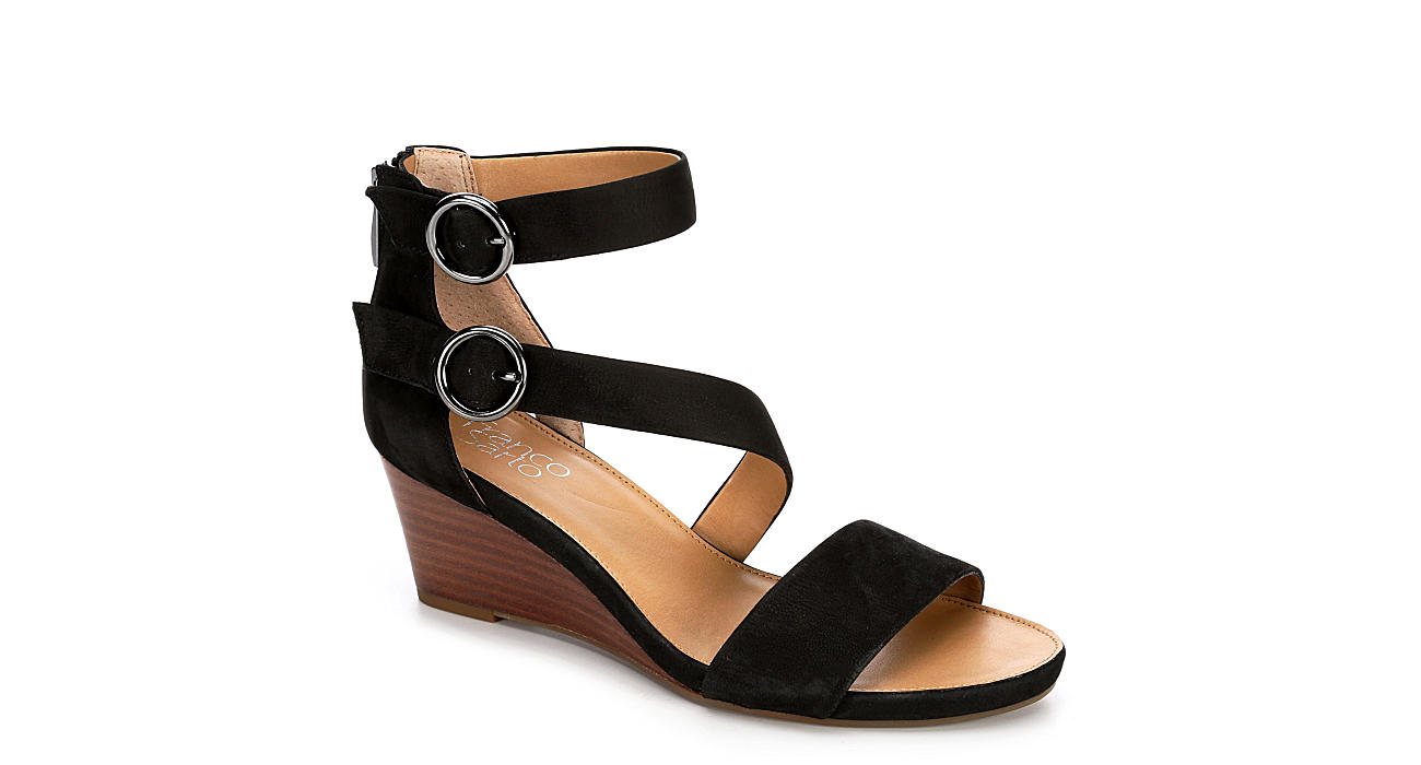 FRANCO SARTO Womens Derek Dress Wedge Sandal - BLACK