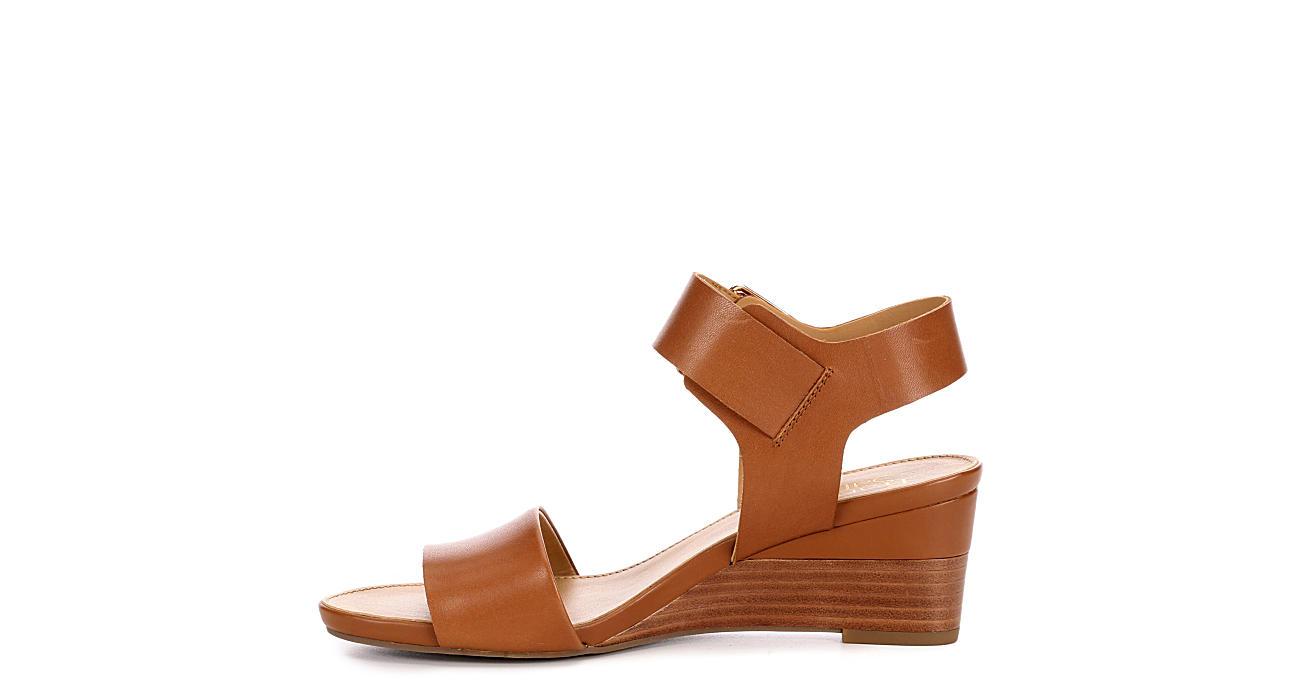 FRANCO SARTO Womens Duke Wedge Sandal - TAN