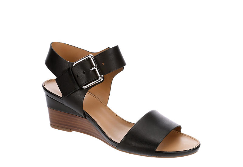 FRANCO SARTO Womens Duke Wedge Sandal - BLACK