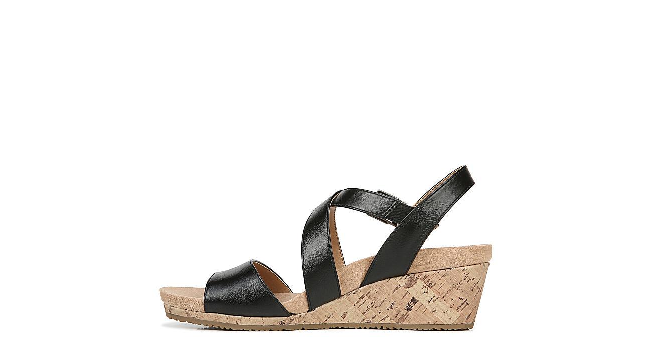 LIFESTRIDE Womens Maple Wedge Sandal - BLACK