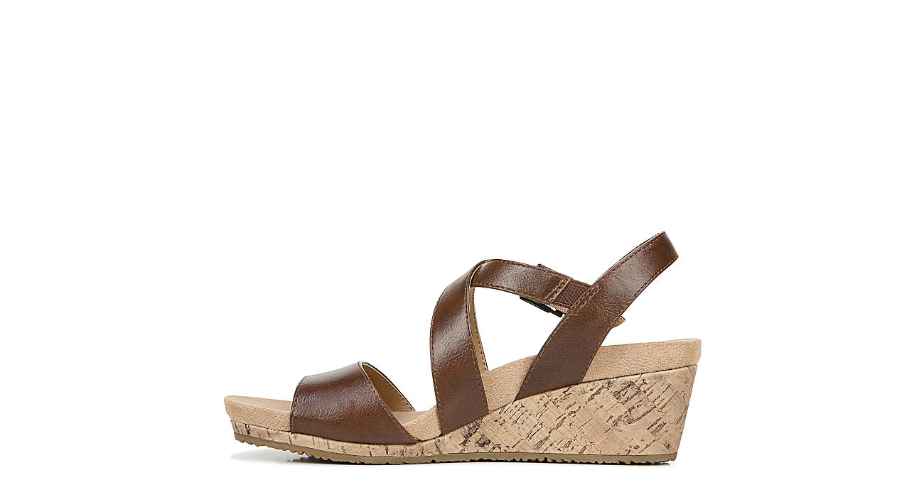 LIFESTRIDE Womens Maple Wedge Sandal - DARK TAN