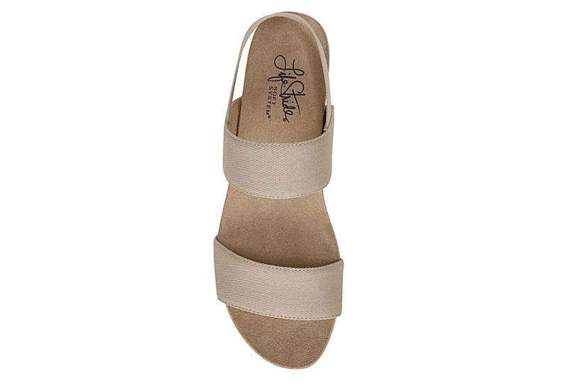 LIFESTRIDE Womens Delta Wedge Sandal - TAUPE