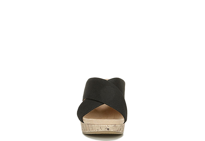 LIFESTRIDE Womens Donna Slip On Wedge Sandal - BLACK