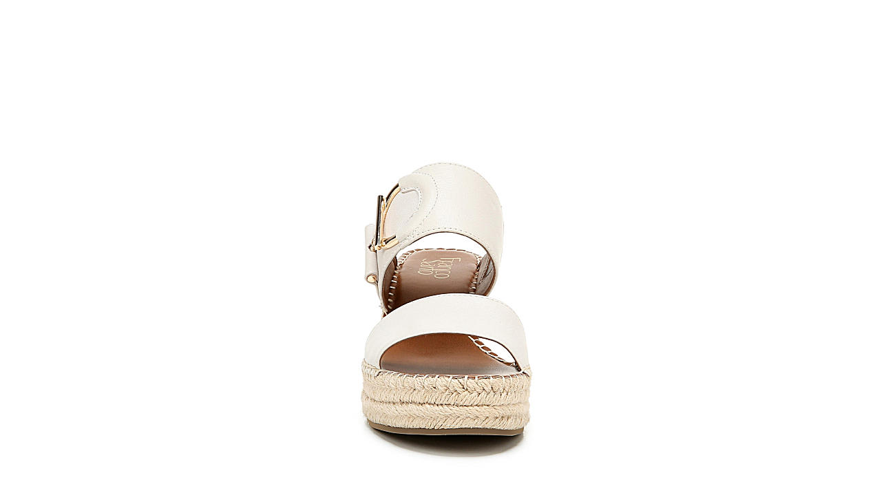 FRANCO SARTO Womens Charlie Espadrille Slide Wedge Sandal - WHITE