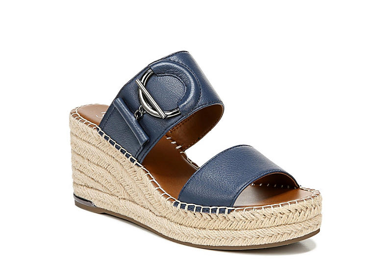 FRANCO SARTO Womens Charlie Espadrille Slide Wedge Sandal - BLUE
