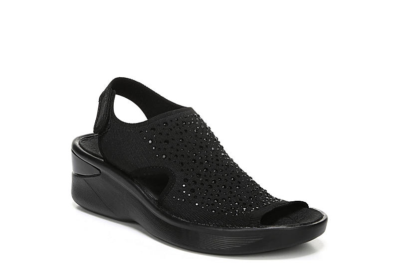 BZEES Womens Saucy Wedge Sandal - BLACK