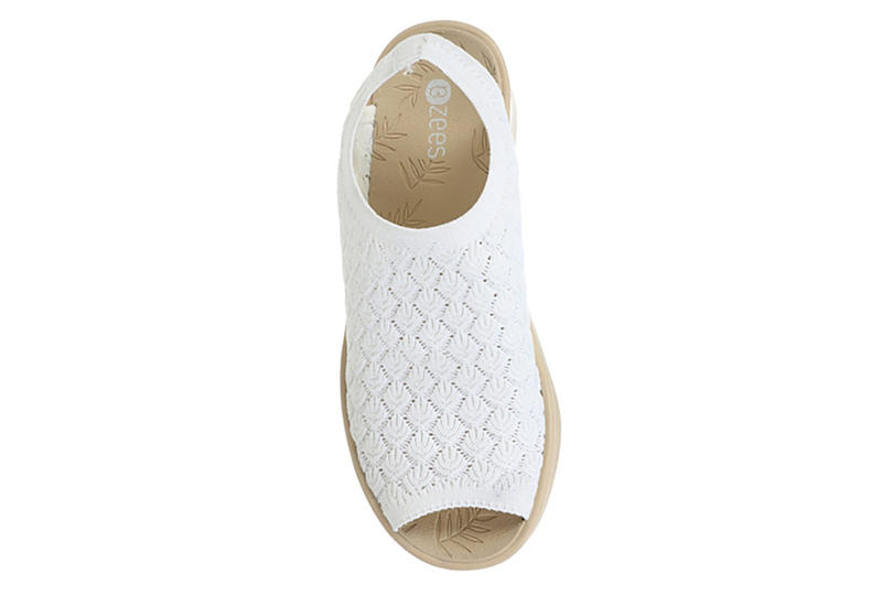 BZEES Womens Secret Wedge Sandal - WHITE