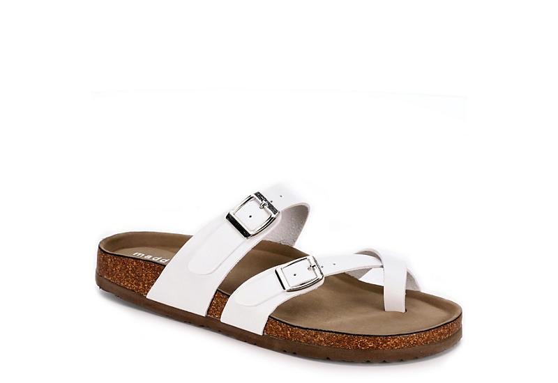 MADDEN GIRL Womens Brycee Footbed Slide Sandal - WHITE