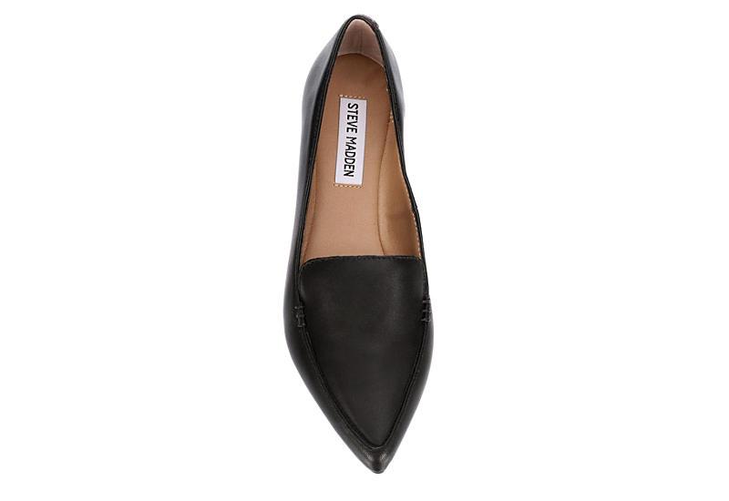 STEVE MADDEN Womens Feather Loafer Flat - BLACK