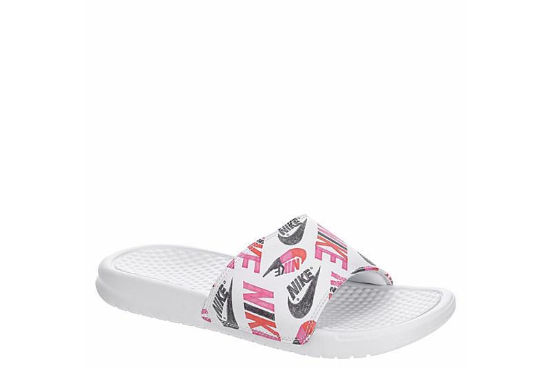 WHITE NIKE Womens Benassi Jdi Floral Slide Sandal