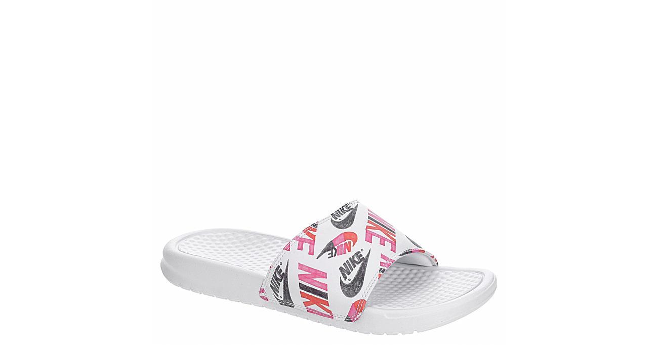 NIKE Womens Benassi Jdi Floral Slide Sandal - WHITE