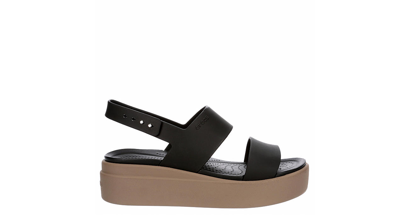 CROCS Womens Brooklyn Wedge Sandal - BLACK