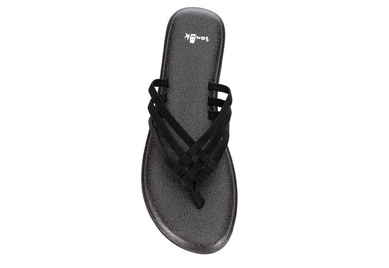 SANUK Womens Yoga Salty Flip Flop Sandal - BLACK