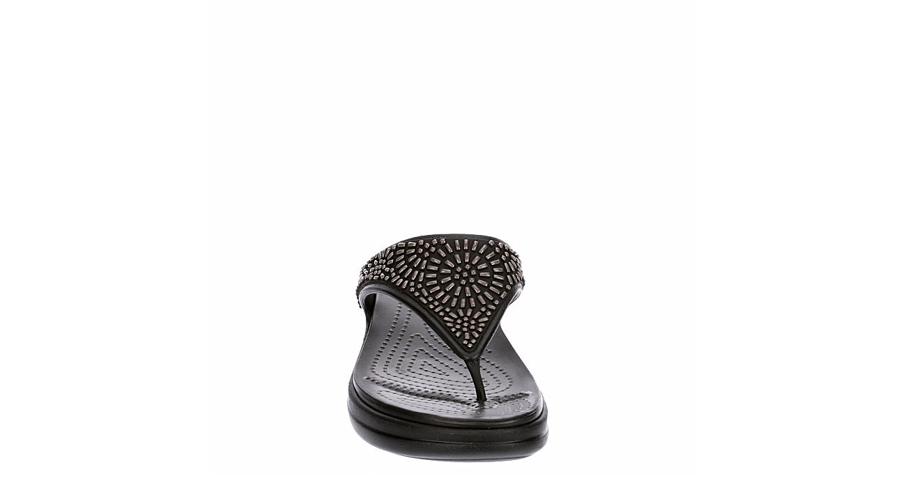 CROCS Womens Monterey Diaman Thong Sandal - BLACK