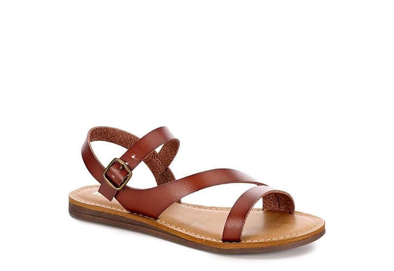 MIA Womens Eden Flat Sandal - BROWN