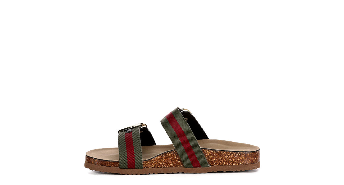 MADDEN GIRL Womens Bambamm Footbed Slide Sandal - OLIVE