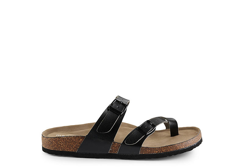 MADDEN GIRL Womens Bryceee Footbed Slide Sandal - BLACK