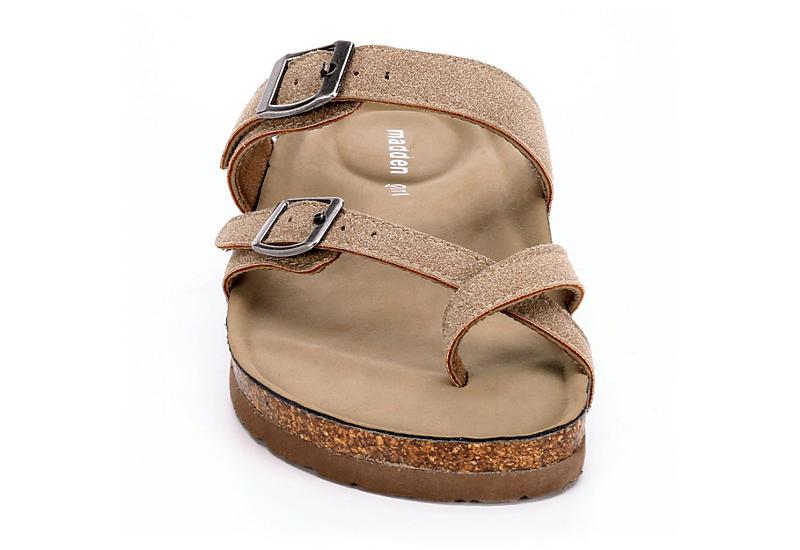 MADDEN GIRL Womens Bryceee Footbed Slide Sandal - TAUPE