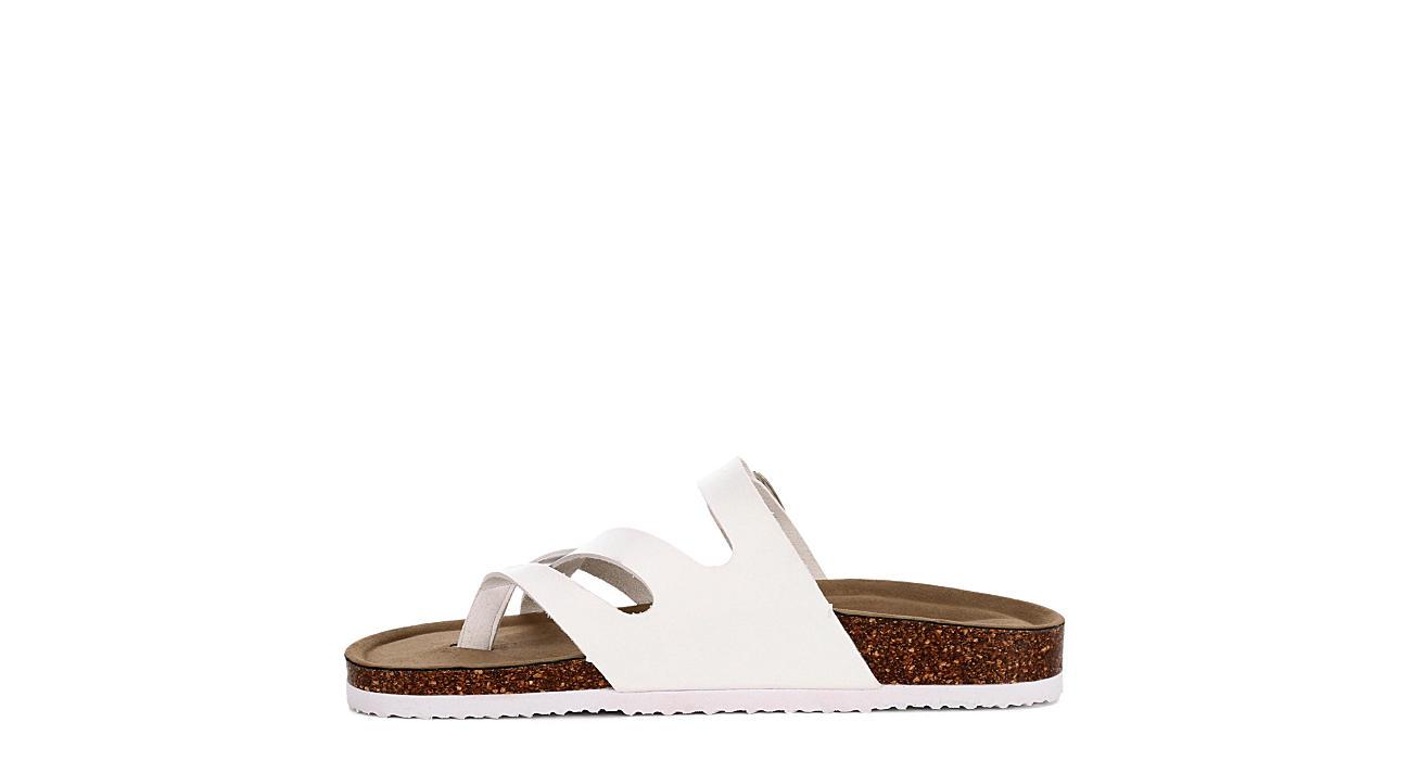 MADDEN GIRL Womens Bartlet Footbed Slide Sandal - WHITE
