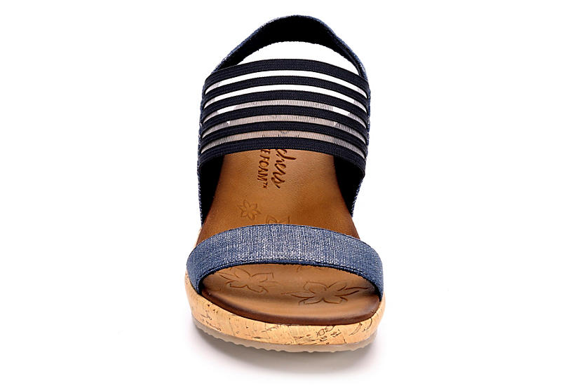 SKECHERS Womens Beverlee Smitten Kitten Wedge Sandal - NAVY