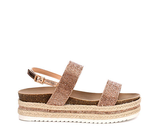 Womens Glitzie Espadrille Platform Wedge Sandal