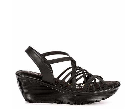 Womens Parallel Crossed Wires Wedge Sandal