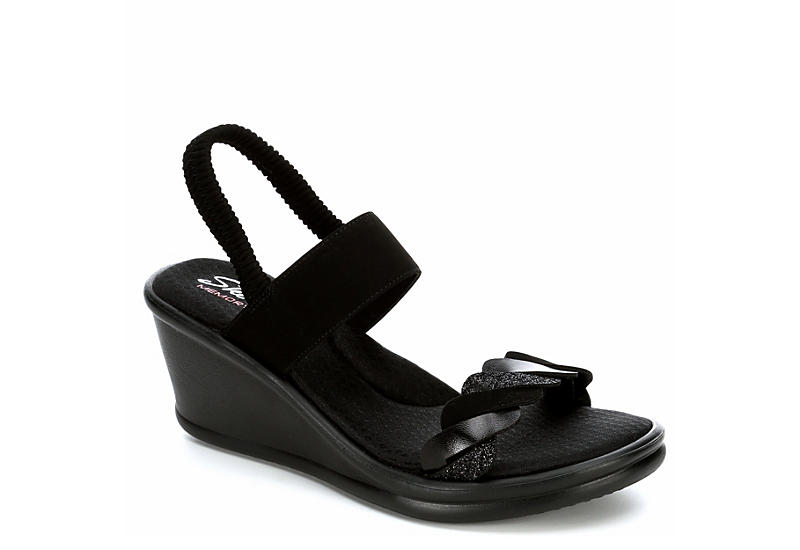 SKECHERS Womens Rumbler City Dash Wedge Sandal - BLACK
