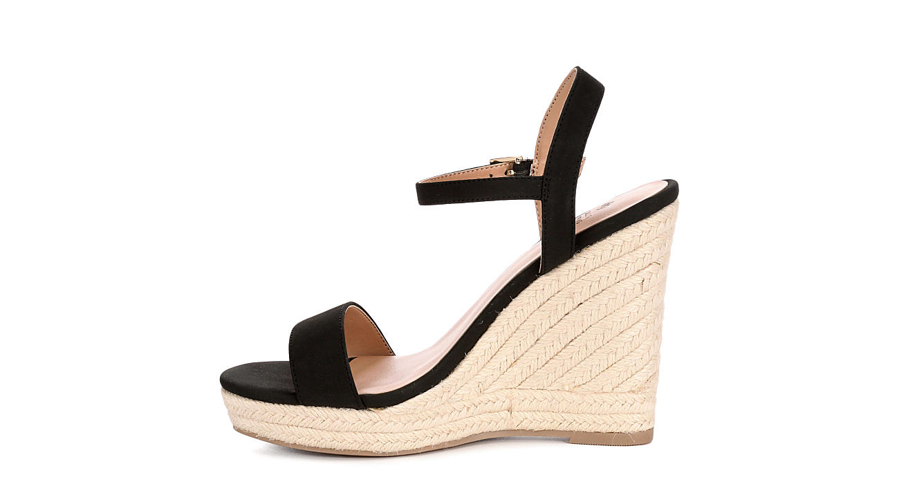 Call It Spring Womens Alexey Espadrille Wedge Sandal - BLACK