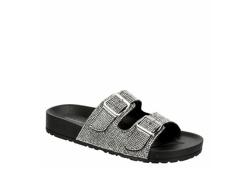 MADDEN GIRL Womens Teddy Footbed Slide Sandal - BLACK