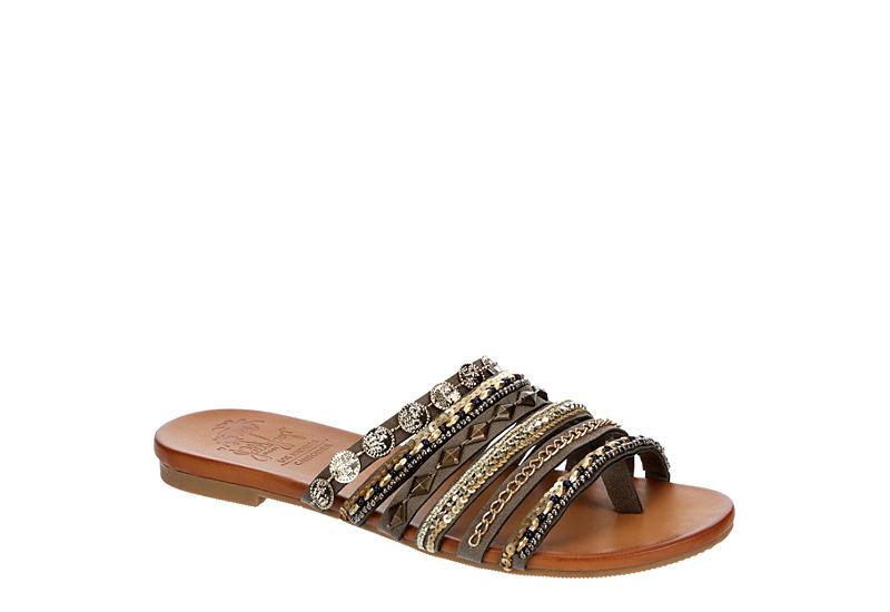 JELLYPOP Womens Lizzy Flat Slide Sandal - GREY