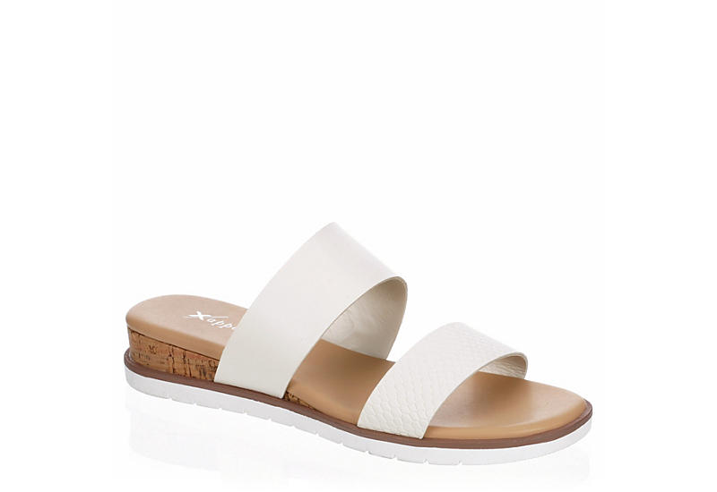 XAPPEAL Womens Farrah Wedge Slide Sandal - WHITE