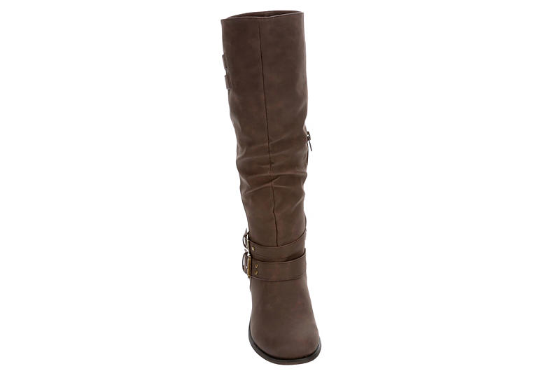 XOXO Womens Malden Wide Calf Riding Boot - CHOCOLATE
