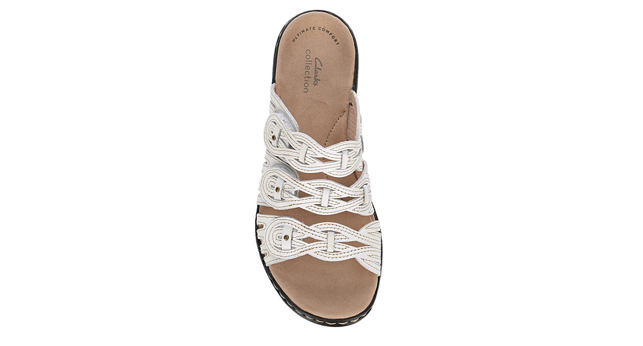 CLARKS Womens Leisa Faye Slide Sandal - WHITE