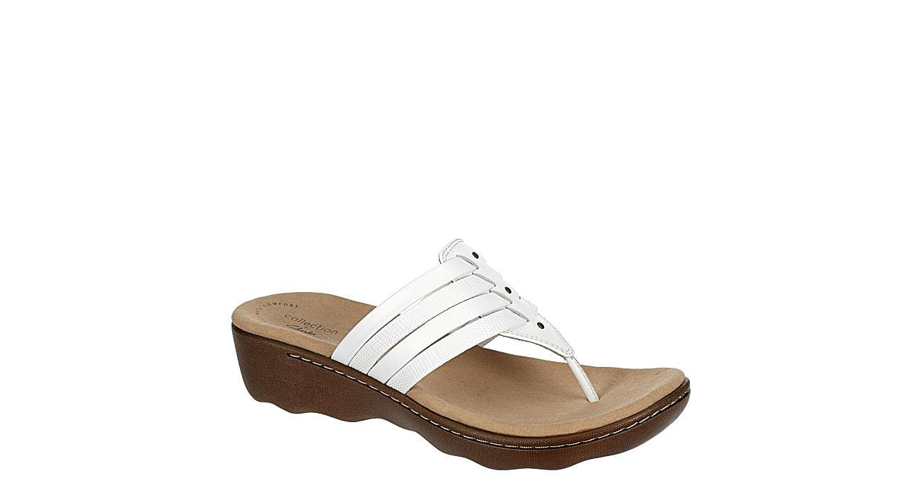 CLARKS Womens Phebe Carman Wedge Thong Sandal - WHITE