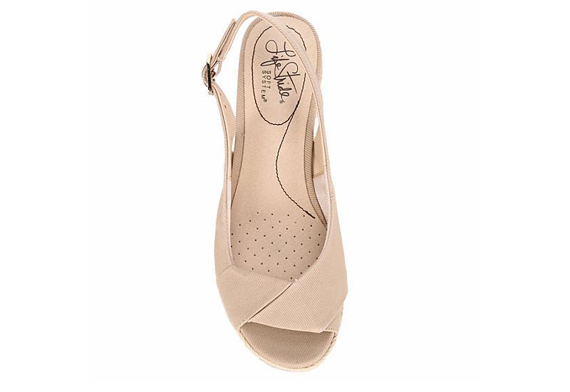 LIFESTRIDE Womens Socialite Wedge Sandal - TAUPE