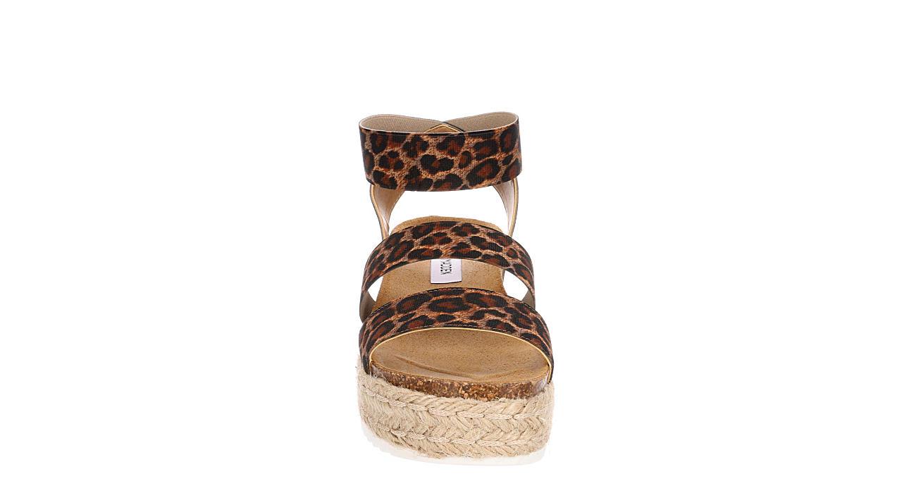 STEVE MADDEN Womens Kimmie Platform Espadrille Sandal - LEOPARD