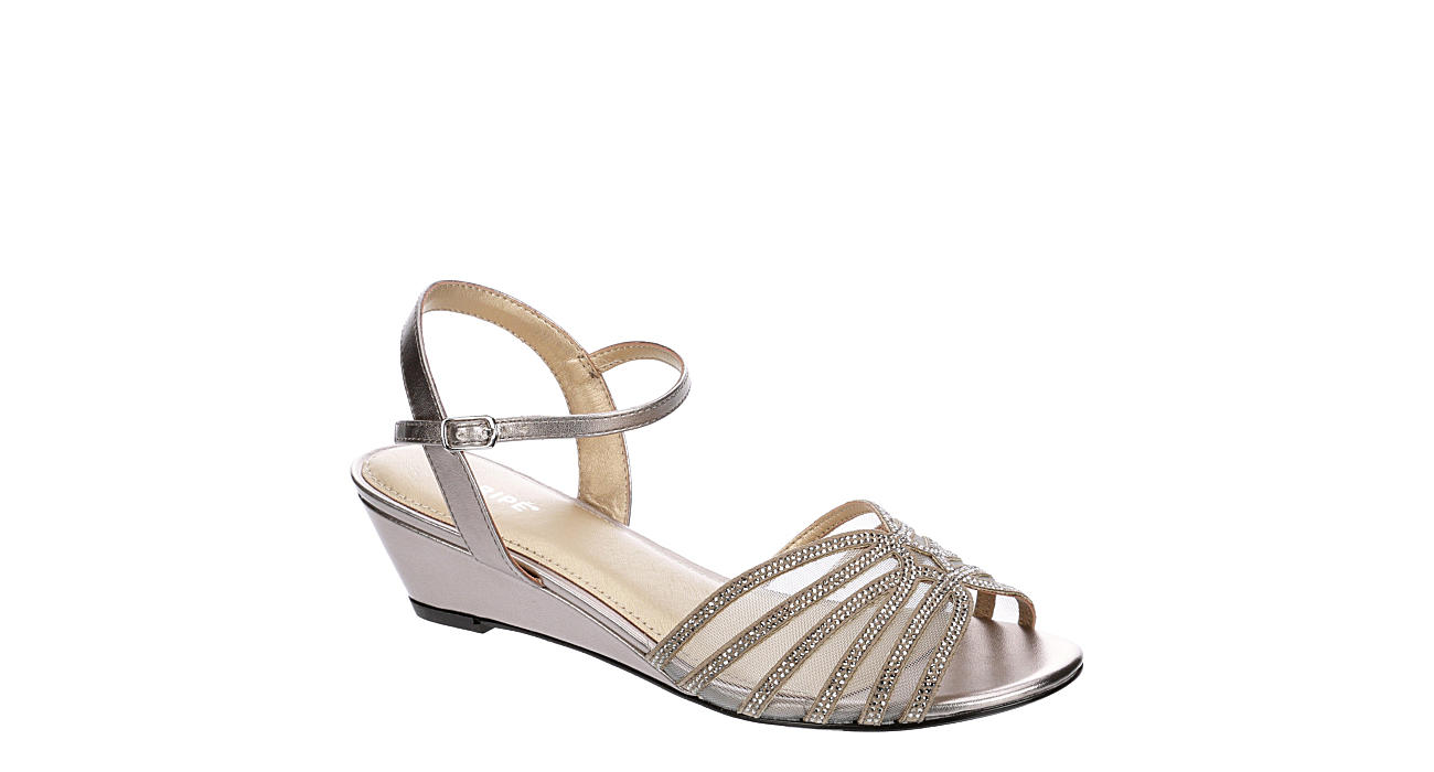 MARIPE Womens Lucie Dress Evening Wedge Sandal - SILVER