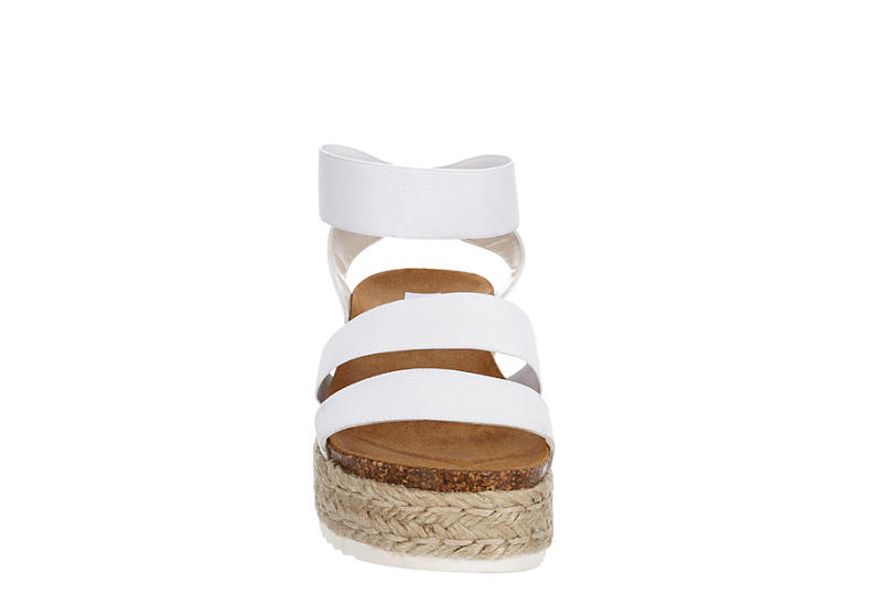 STEVE MADDEN Womens Kimmie Platform Espadrille Sandal - WHITE